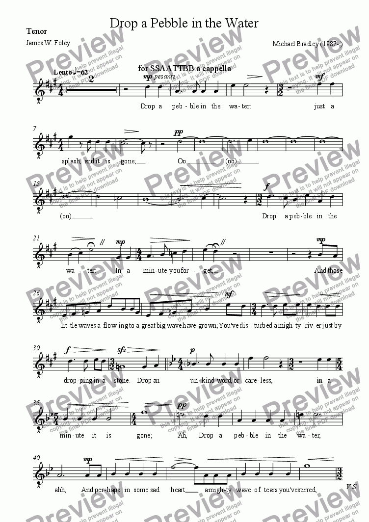page one of the Tenor part from Drop a Pebble in the Water