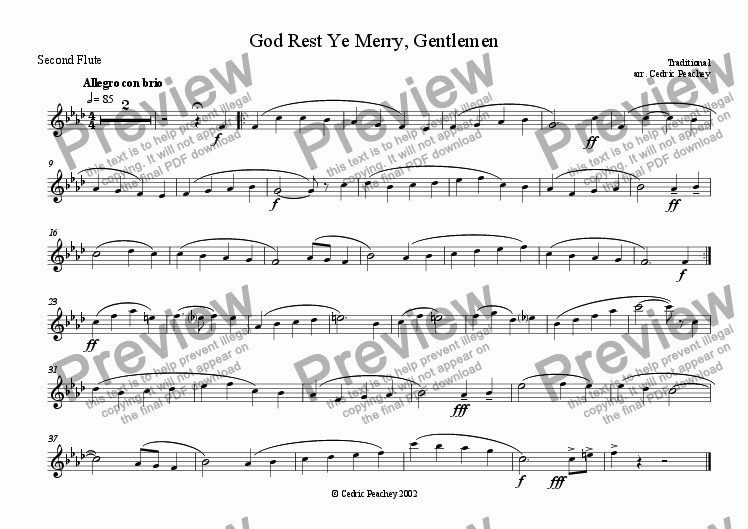 page one of the Second Flute part from Ye Olde Carol-Singers' Compendium - God Rest Ye Merry, Gentlemen
