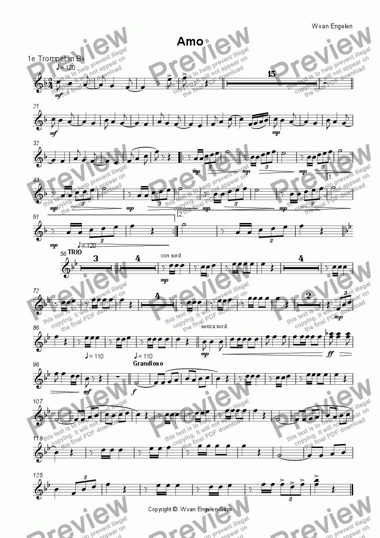 page one of the 1e Trompet in B^b part from Amo