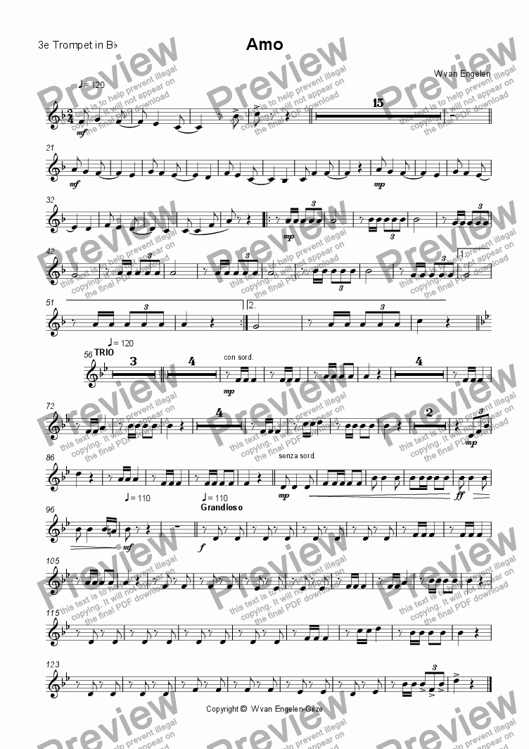 page one of the 3e Trompet in B^b part from Amo