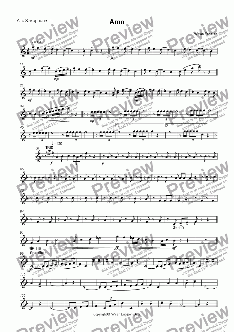 page one of the Alto Saxophone -1- part from Amo