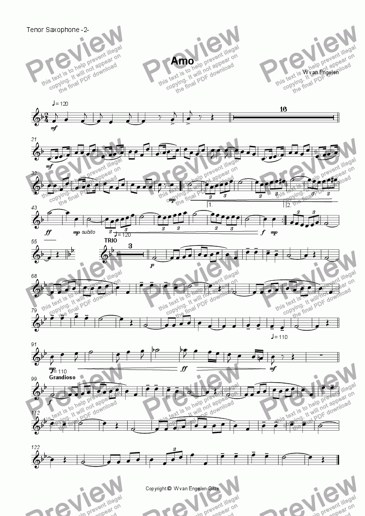 page one of the Tenor Saxophone -2- part from Amo