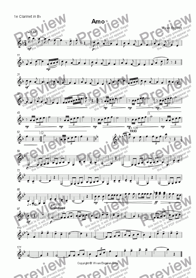 page one of the 1e Clarinet in B^b part from Amo