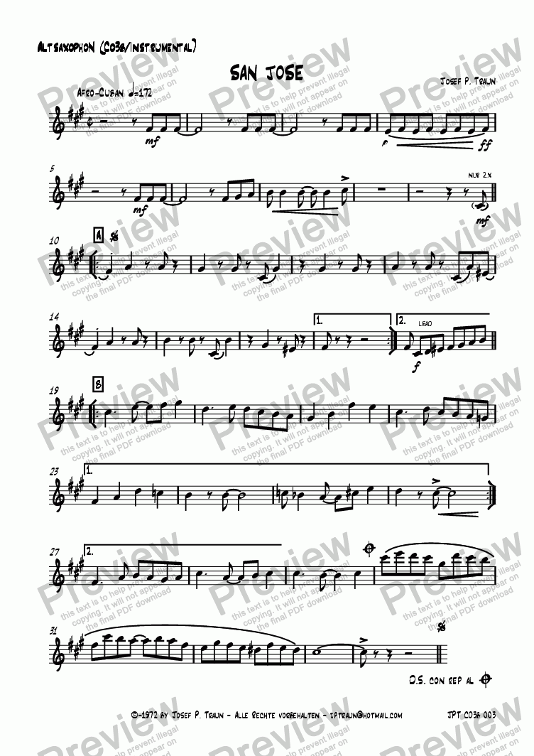 page one of the Alto Saxophon (CO3b) part from San Jose (CO3b/Score & Parts)