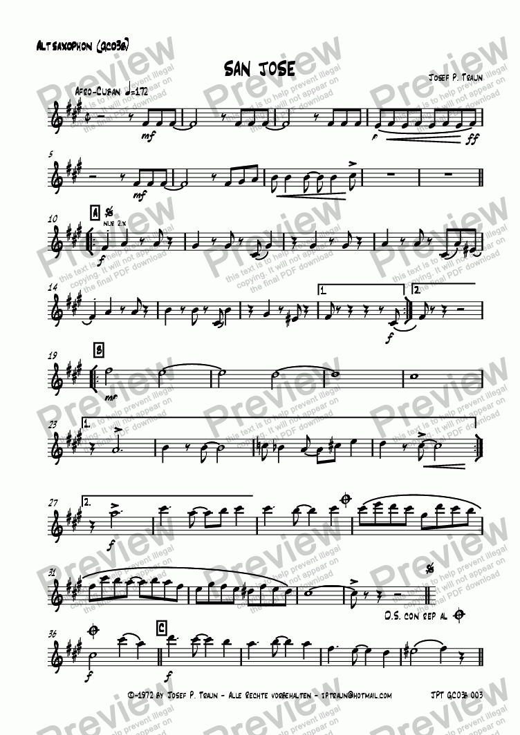 page one of the Alto Saxophon (GCO3b) part from San Jose (GCO3b/Score & Parts)