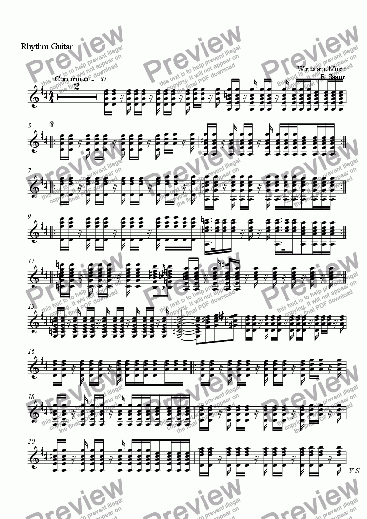 page one of the Rhythm Guitar part from Santillana del Mar