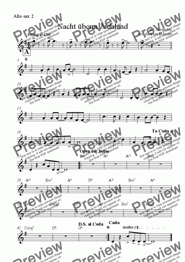 page one of the Alto sax 2 part from Night Over Zion