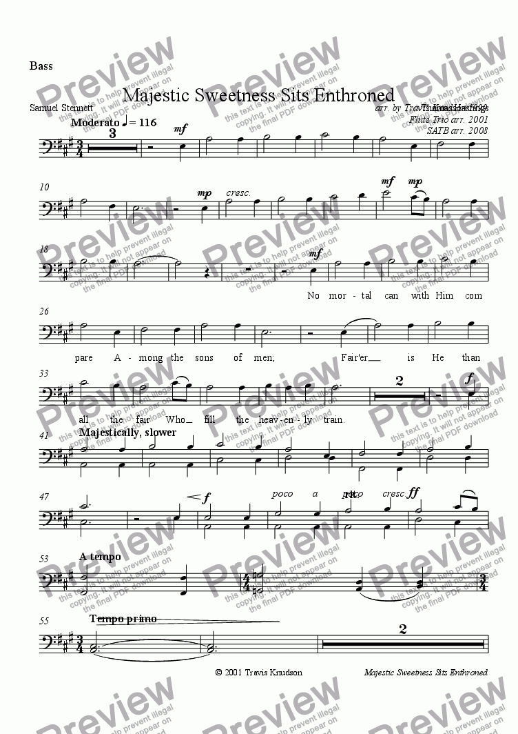 page one of the Bass part from Majestic Sweetness Sits Enthroned (Male Chorus)