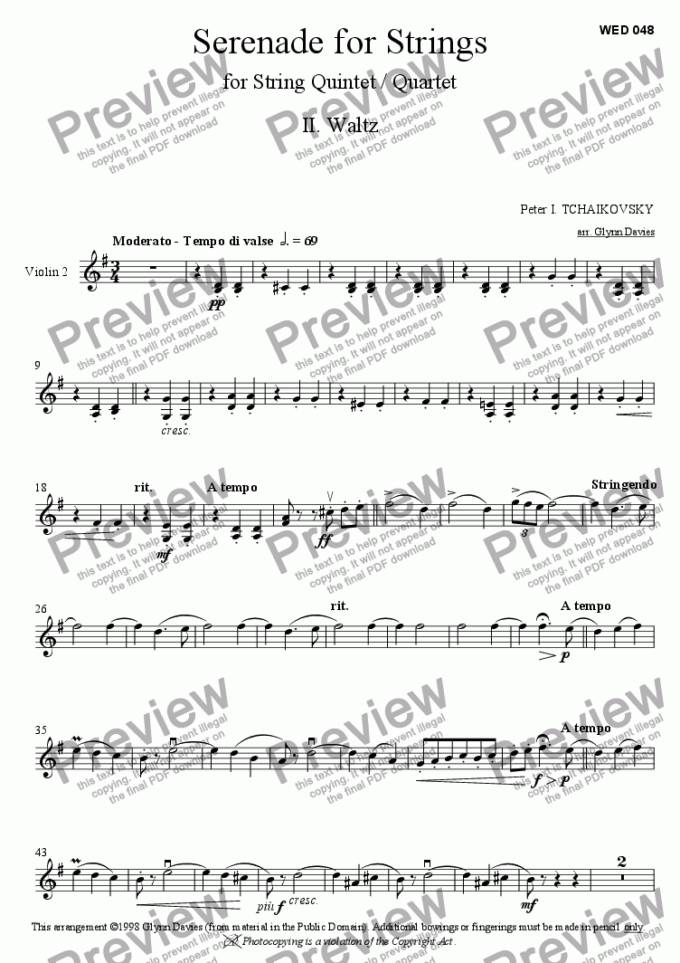 page one of the Violin 2 part from String Serenade - 2. Waltz