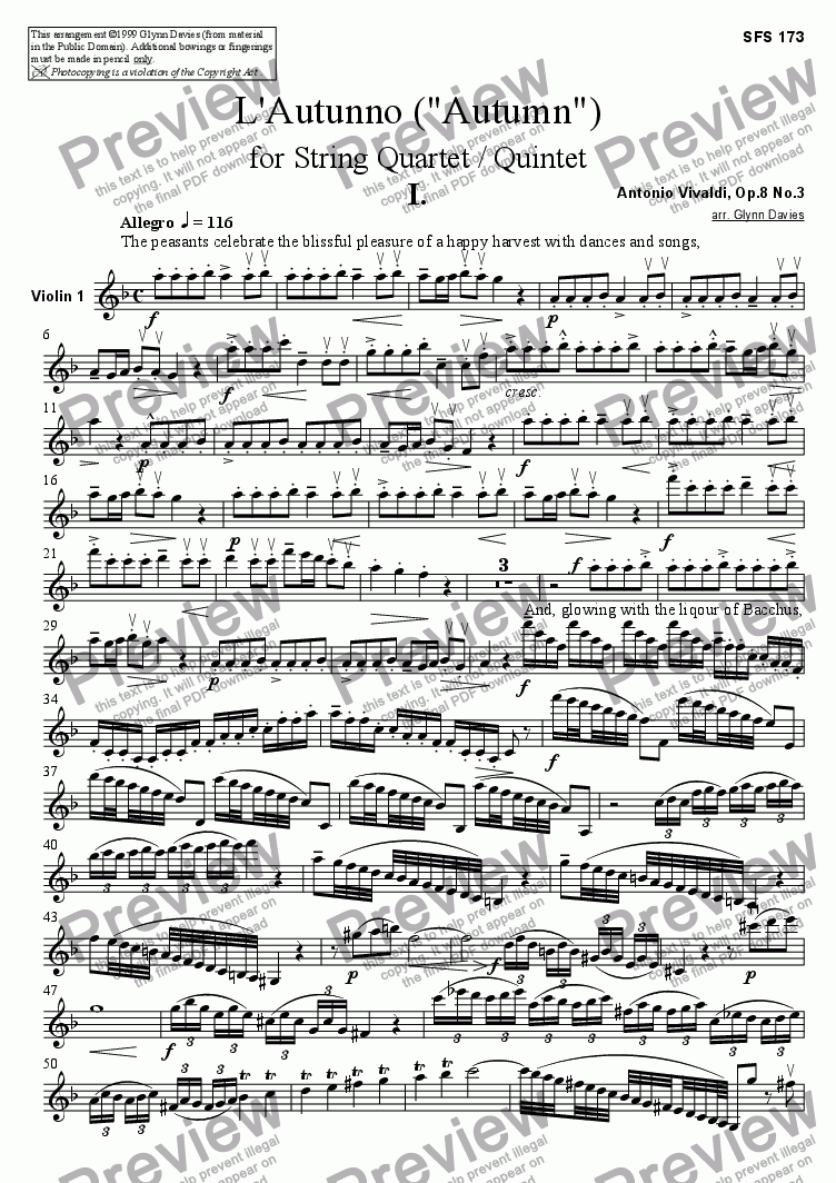 "page one of the Violin 1 part from L'Autunno (""Autumn"") - 1. Allegro"