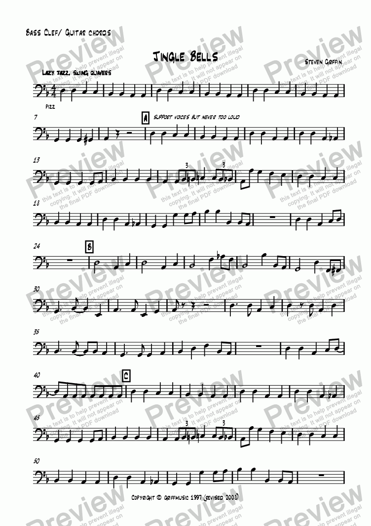 Bass Clef Guitar Chords Part From Jingle Bells Sheet Music Pdf File
