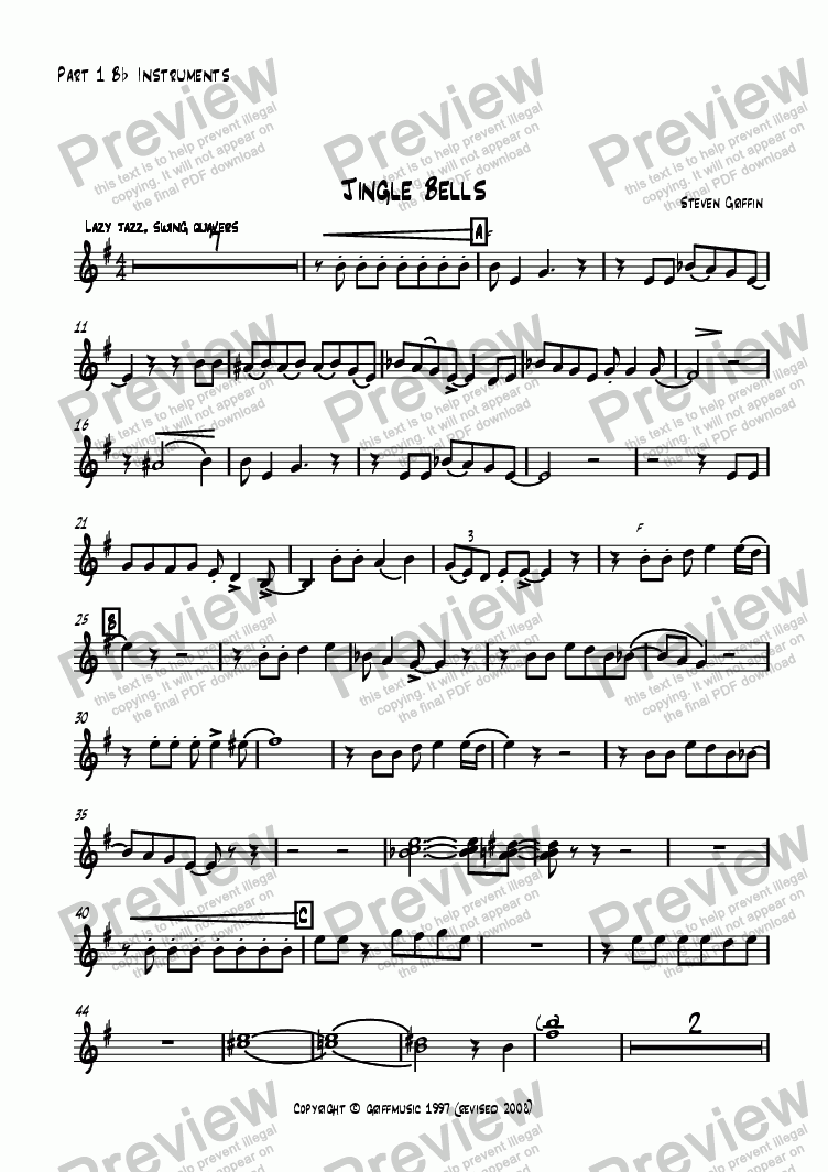 page one of the Part 1 B^b^ Instruments part from Jingle Bells
