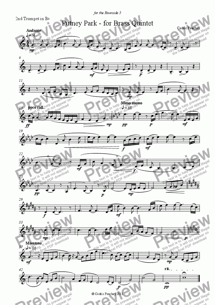 page one of the 2nd Trumpet in Bb part from Putney Park - for Brass Quintet