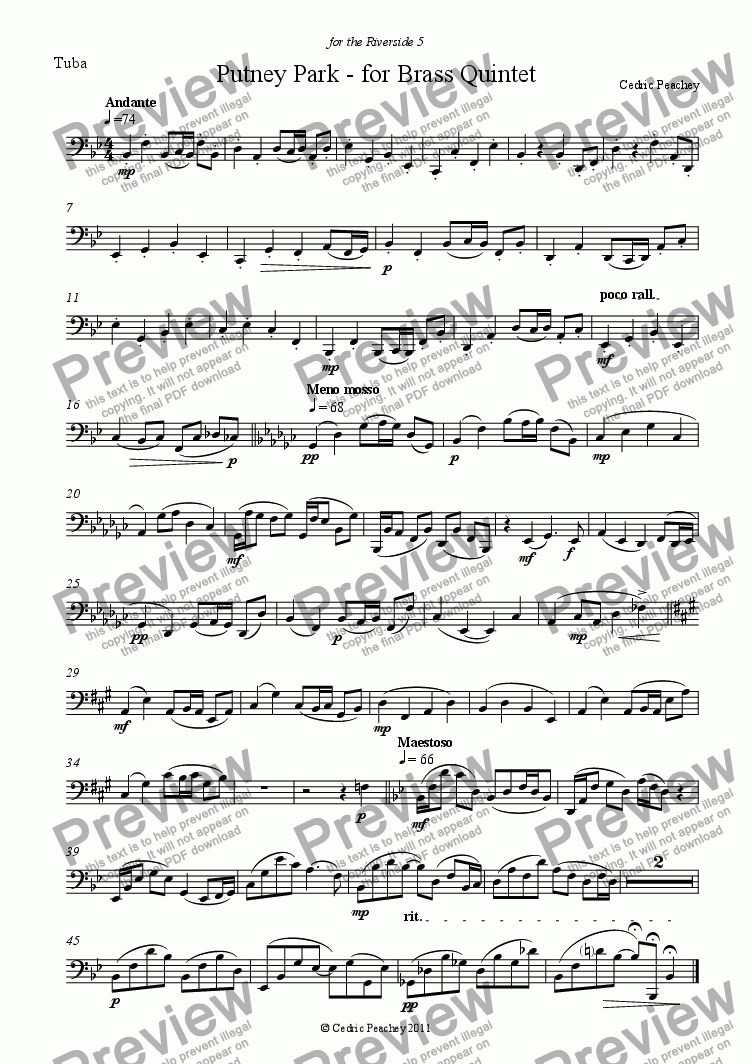 page one of the Tuba part from Putney Park - for Brass Quintet