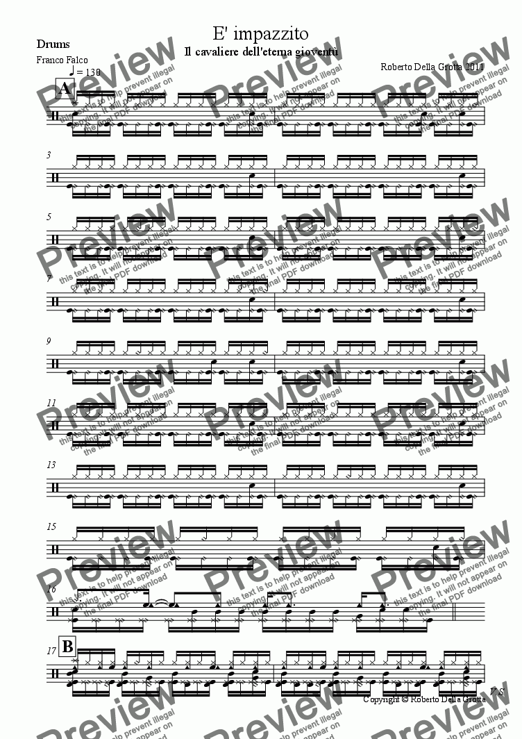 page one of the Drums part from E' impazzito