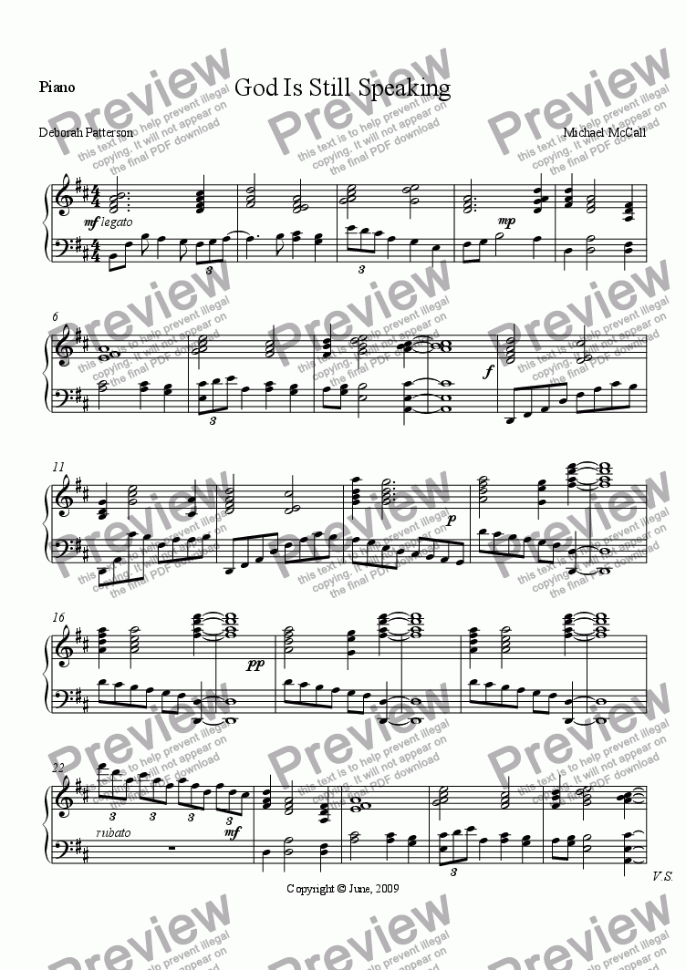 page one of the Piano part from God Is Still Speaking