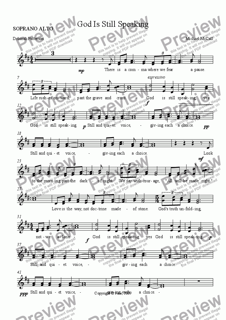 page one of the SOPRANO ALTO part from God Is Still Speaking