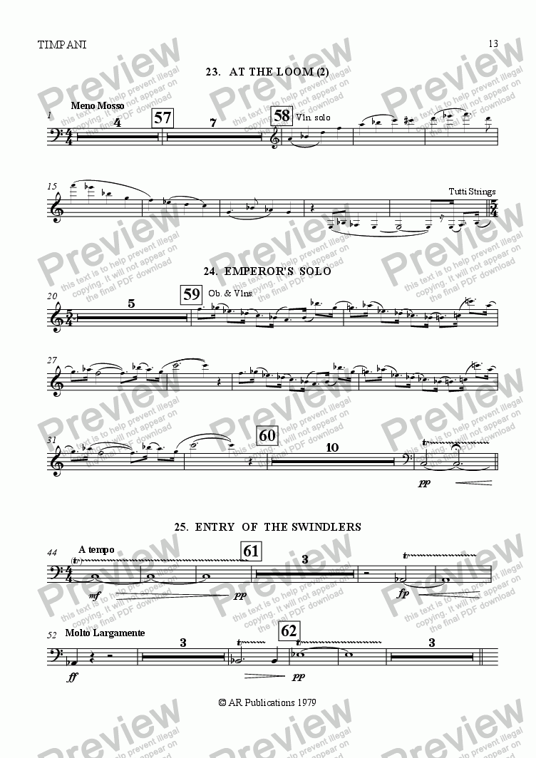 page one of the Timpani part from Ballet: The Emperor's New Clothes (Act 2 #5) Swindler's Dance.