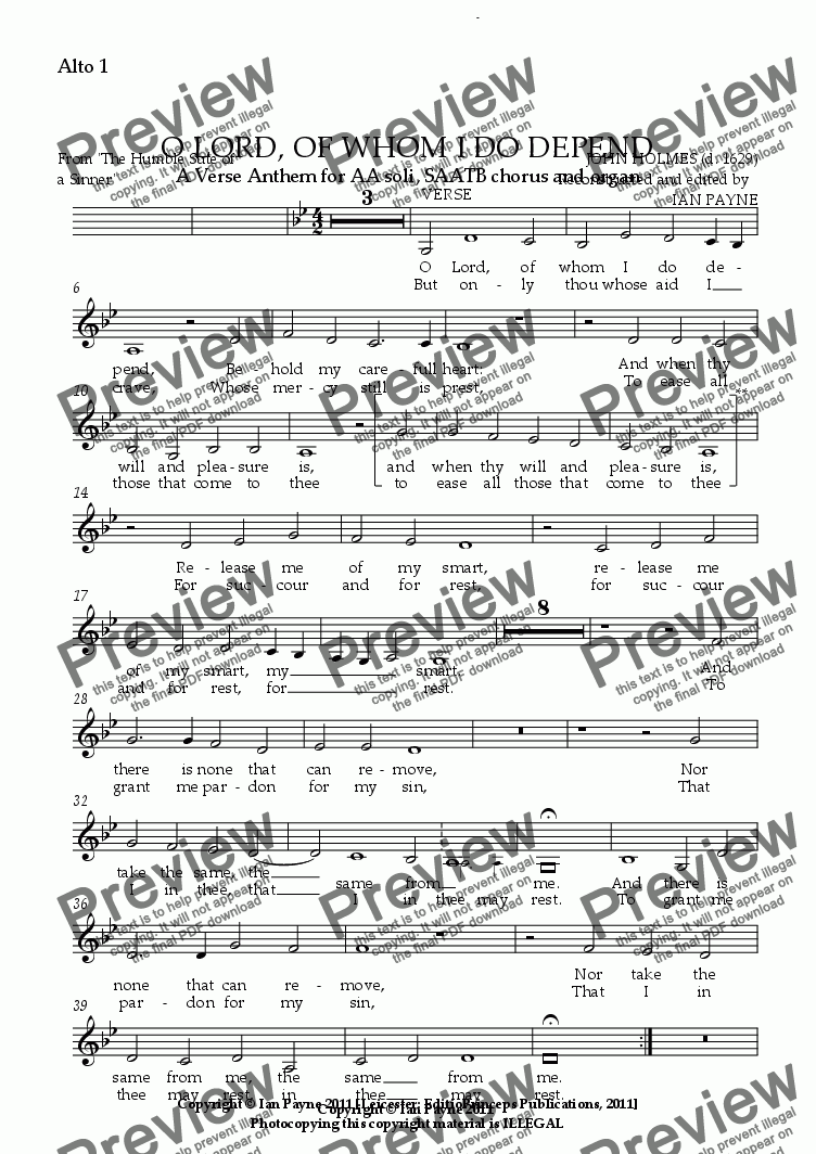 page one of the Alto 1 part from O Lord, of whom I do depend [ORIGINAL PITCH]