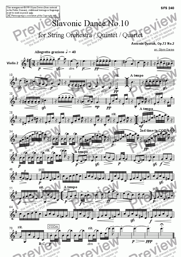 page one of the Violin 2 part from Slavonic Dance, Op.72 No.2