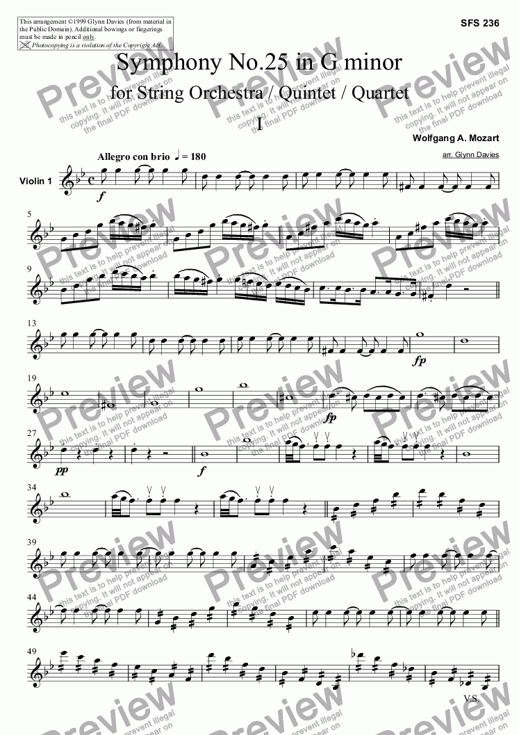 page one of the Violin 1 part from Symphony No.25 - 1. Allegro con brio