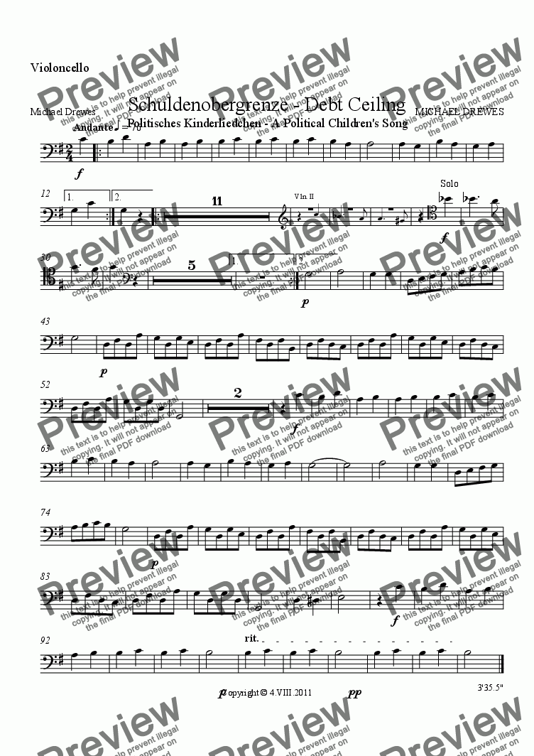 page one of the Violoncello part from Schuldenobergrenze - Debt Ceiling