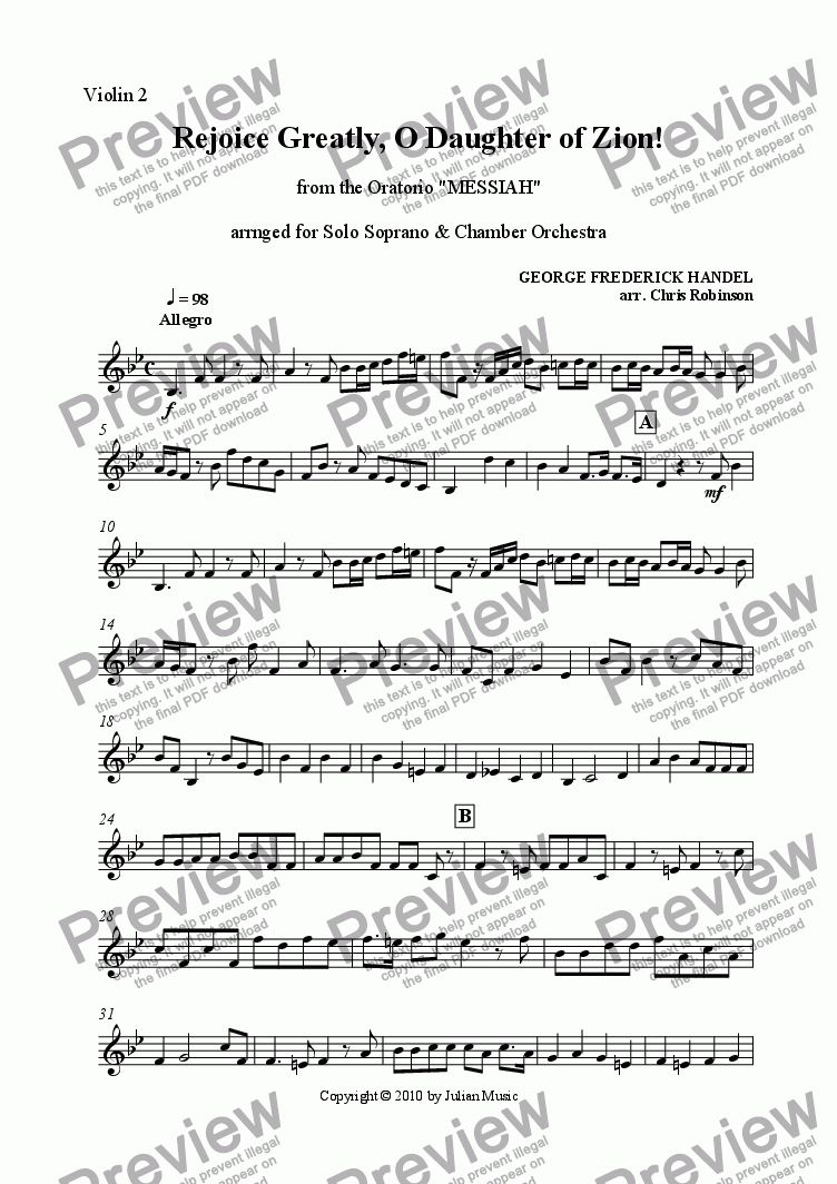 page one of the Violin II part from Rejoice Greatly [original 4/4 Version]