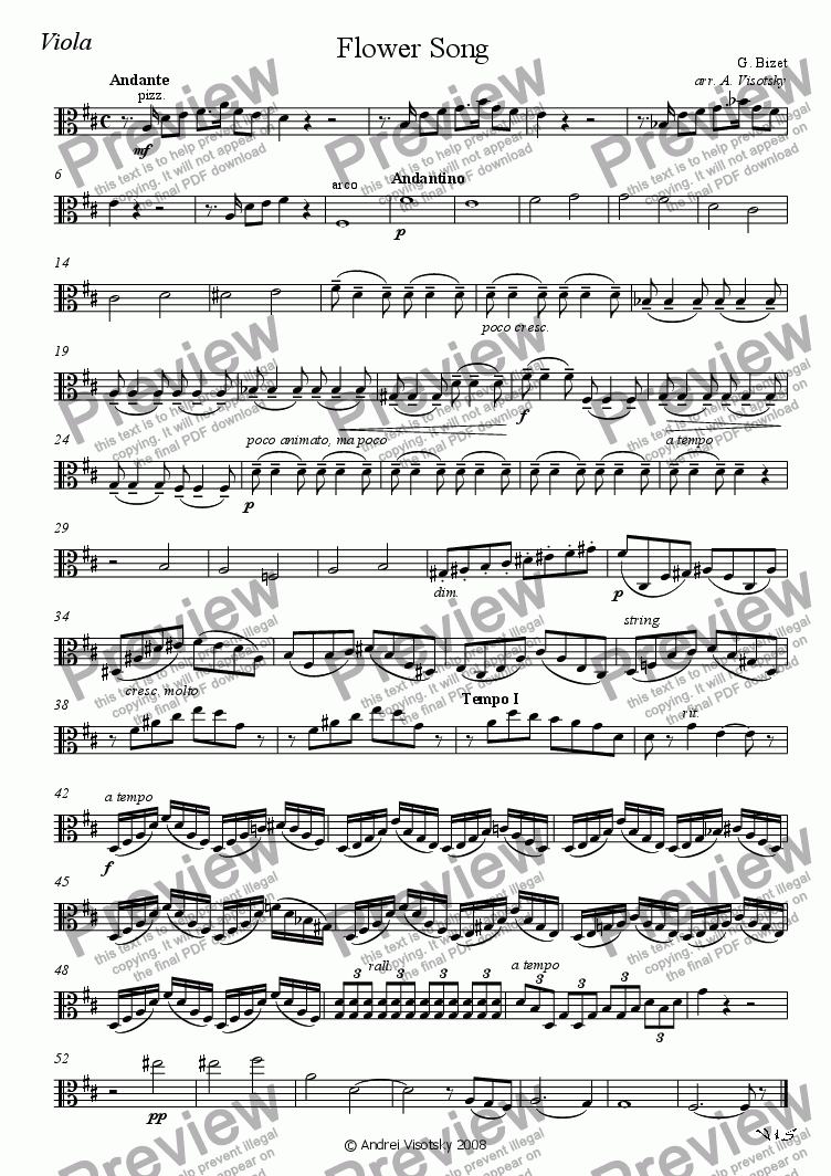 "page one of the Viola part from Flower Song from ""Carmen"""