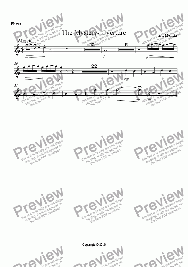 page one of the Flutes part from The Mystery- Overture