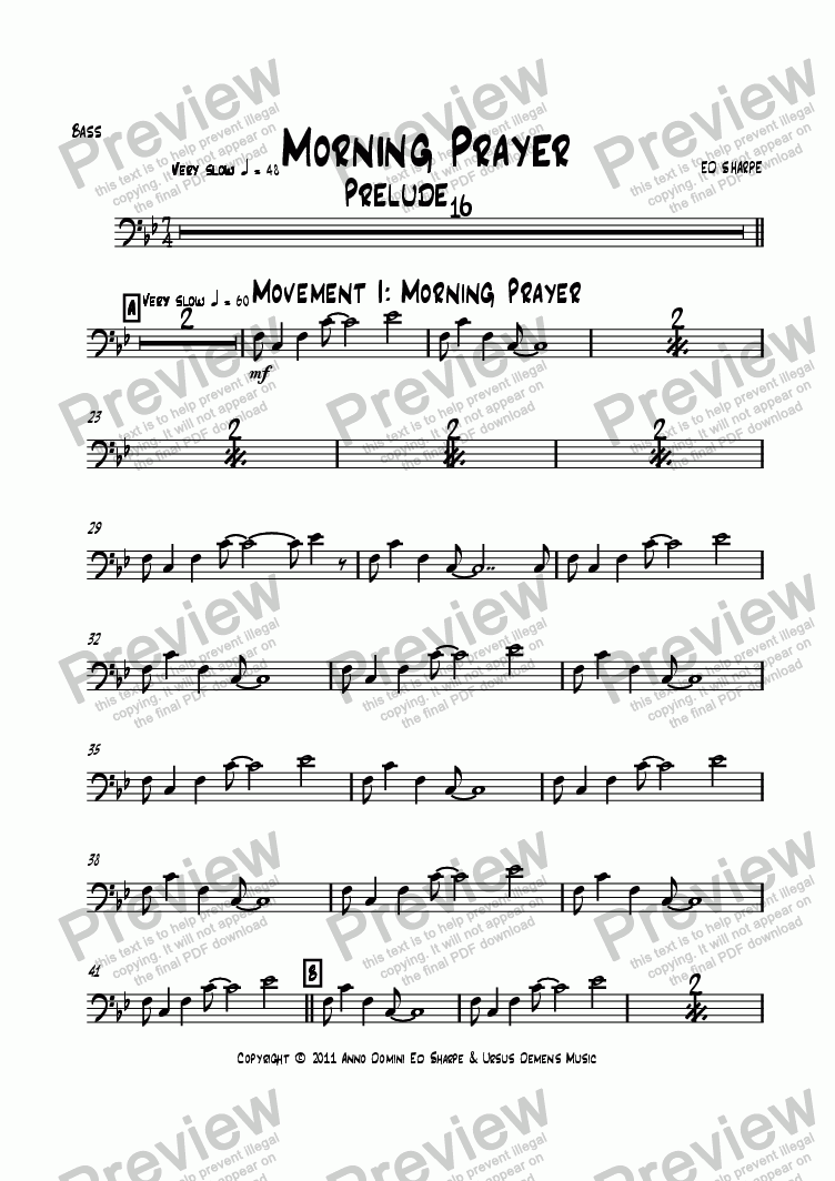 page one of the Bass part from Morning Prayer