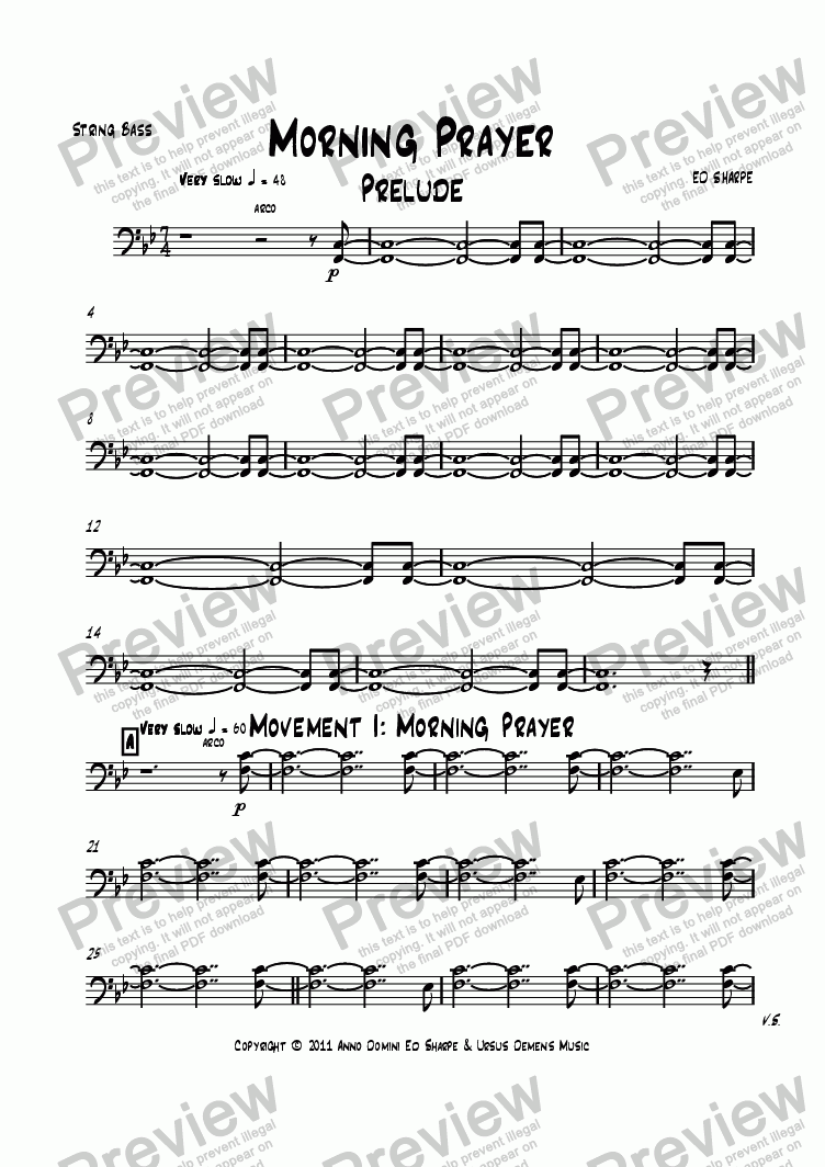 page one of the String Bass part from Morning Prayer