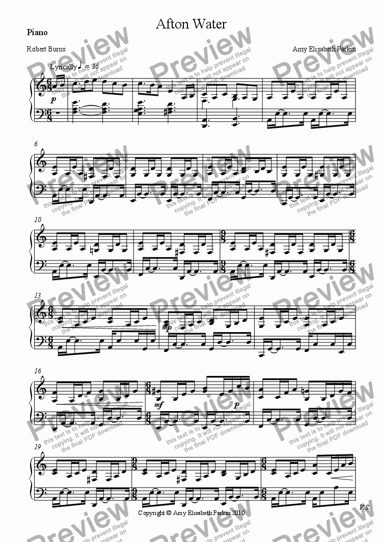 page one of the Piano part from Afton Water