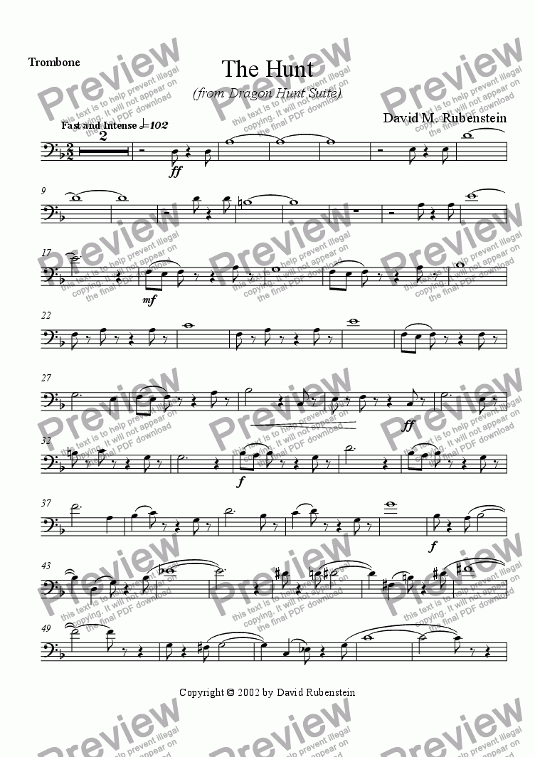 page one of the Trombone part from The Hunt (for jazz ensemble)