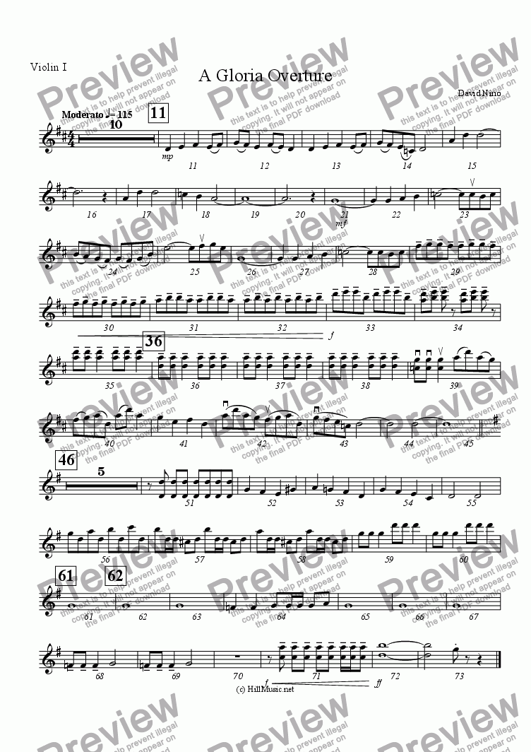 page one of the Violin I part from A Gloria Overture (Buy1 Print X Many)