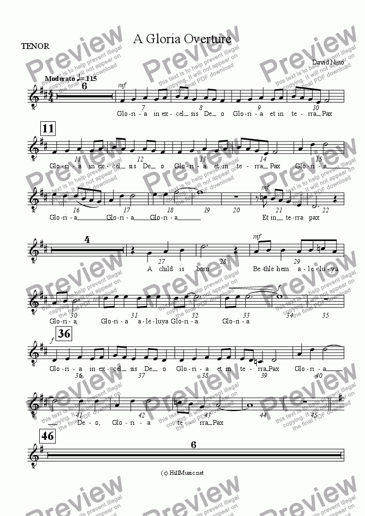 page one of the TENOR part from A Gloria Overture (Buy1 Print X Many)