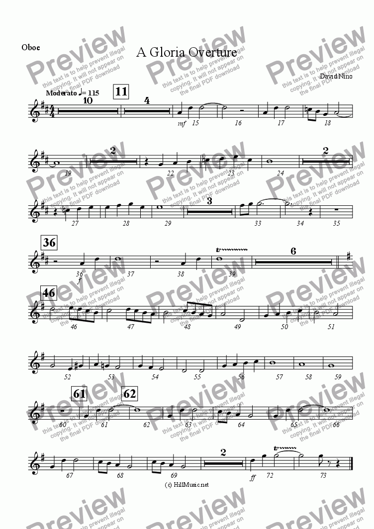 page one of the Oboe part from A Gloria Overture (Buy1 Print X Many)
