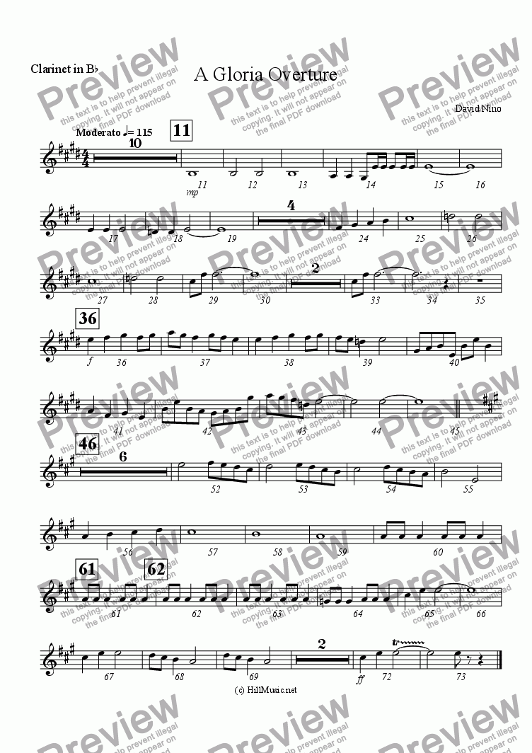 page one of the Clarinet in B^b part from A Gloria Overture (Buy1 Print X Many)
