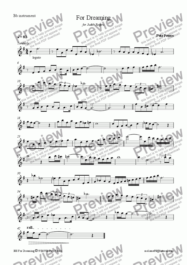 page one of the Bb instrument part from For Dreaming (Oboe,Rec,Flute)