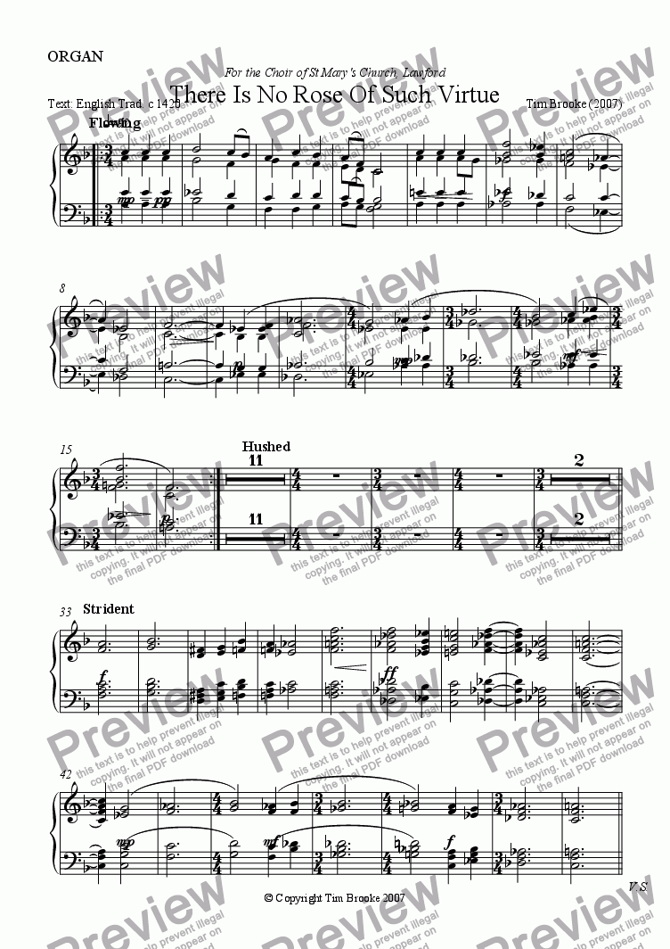page one of the ORGAN part from There Is No Rose - carol for SATB choir and organ