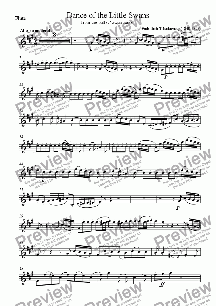"page one of the Flute part from Dance of the Little Swans from the ballet ""Swan Lake"""