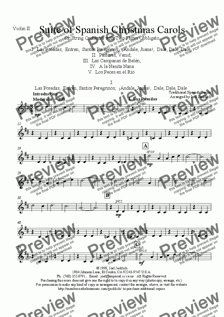 page one of the Violin II part from Suite of Spanish Christmas Carols for Two Flutes and String Orchestra