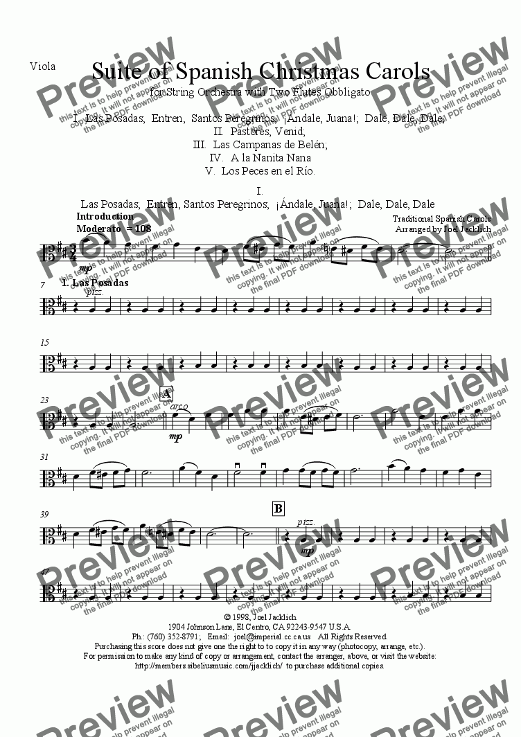 page one of the Viola part from Suite of Spanish Christmas Carols for Two Flutes and String Orchestra