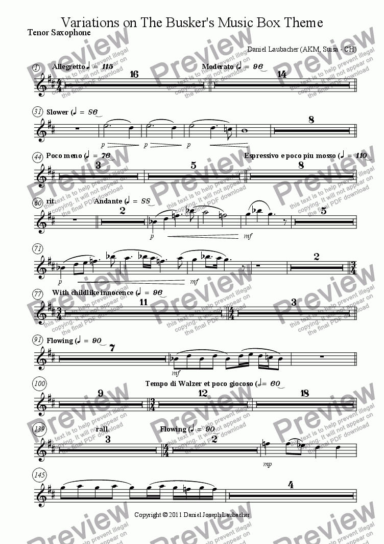 page one of the Tenor Saxophone part from Variations on The Busker's Music Box Theme