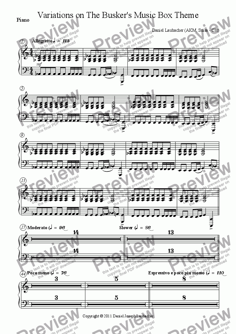 page one of the Piano part from Variations on The Busker's Music Box Theme