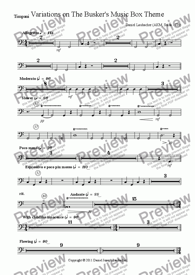page one of the Timpani part from Variations on The Busker's Music Box Theme