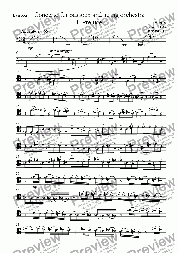 page one of the Bassoon part from Concerto for bassoon and string orchestra