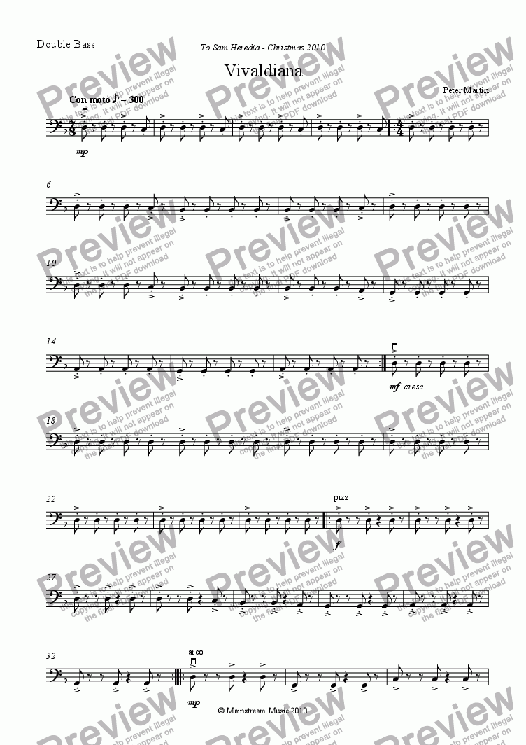 page one of the Double Bass part from Vivaldiana - Orchestra