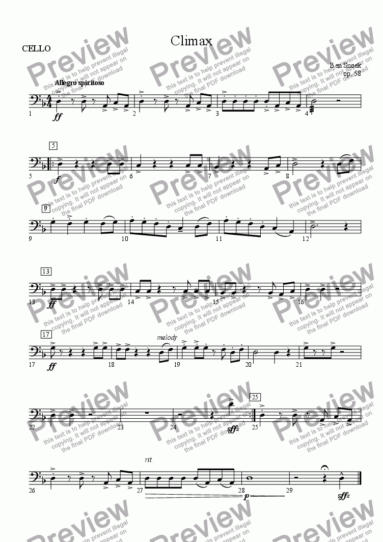 page one of the CELLO part from Climax
