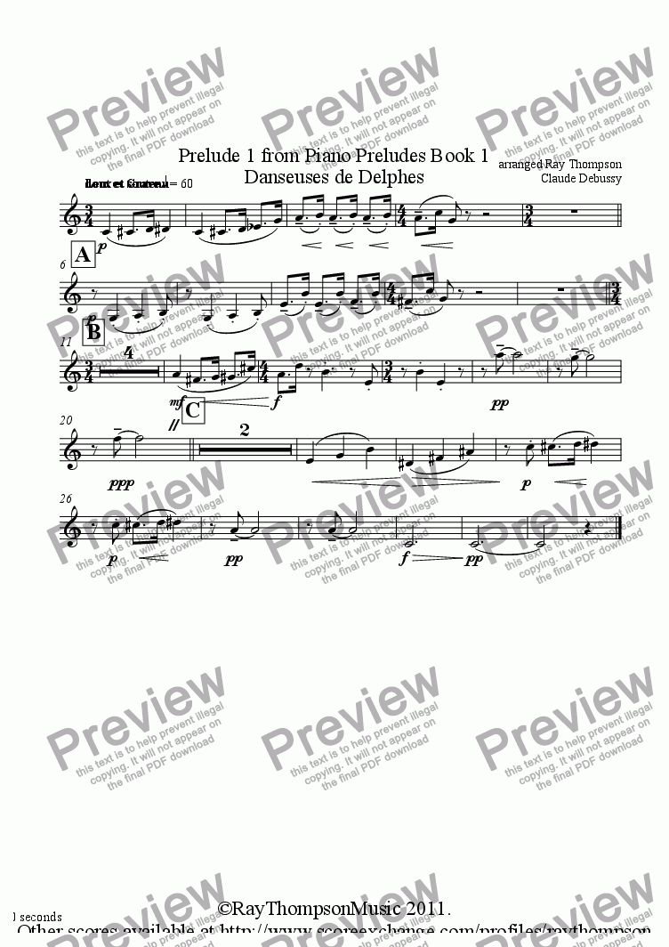 page one of the Clarinet in Bb part from  Piano Preludes Book 1:No.1 Danseuses de Delphes