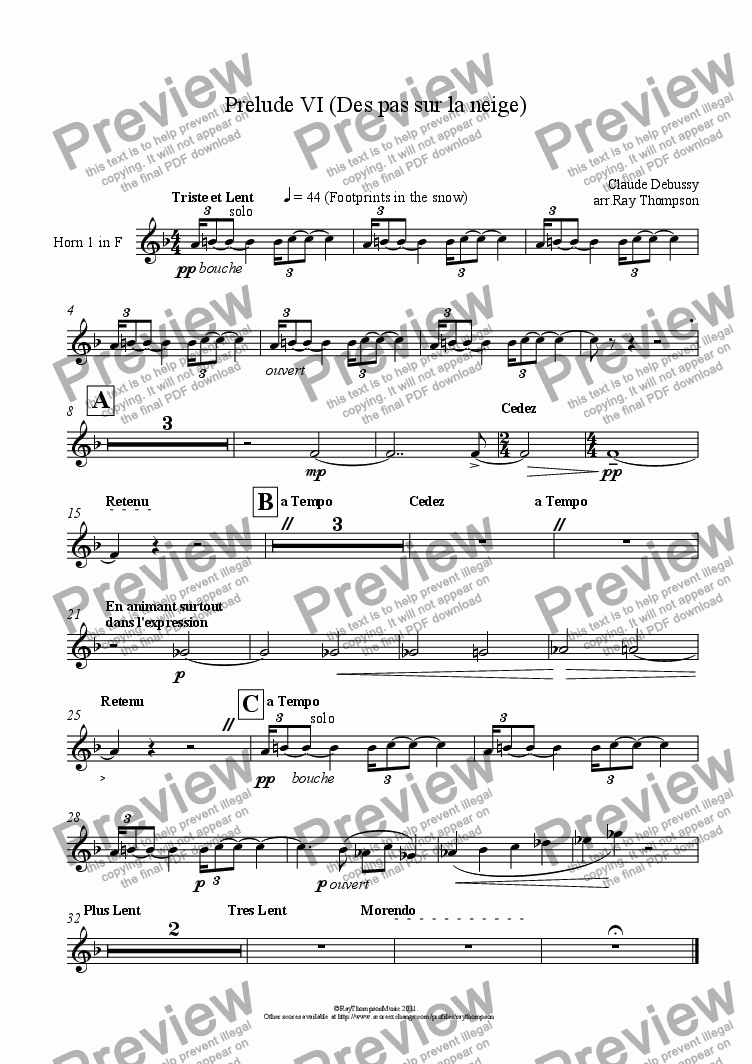 page one of the Horn 1 in F part from Piano Preludes Book 1: 6. De pas sur la neige (Footprints in the snow)